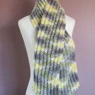 50 Inch Scarf Knit in Self-Patterning Yellow, Grey, White, Light Brown Mix
