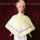 Hand Knit Hand Made Clothes for 11-1/2 Inch Fashion Dolls Poncho