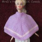 Doll Poncho Mauve Handknit 11.5 Inch Fashion Doll Poncho
