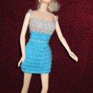 Knitted Doll Dress Aqua-Blue & Grey 11.5 Inch Fashion Doll Dress
