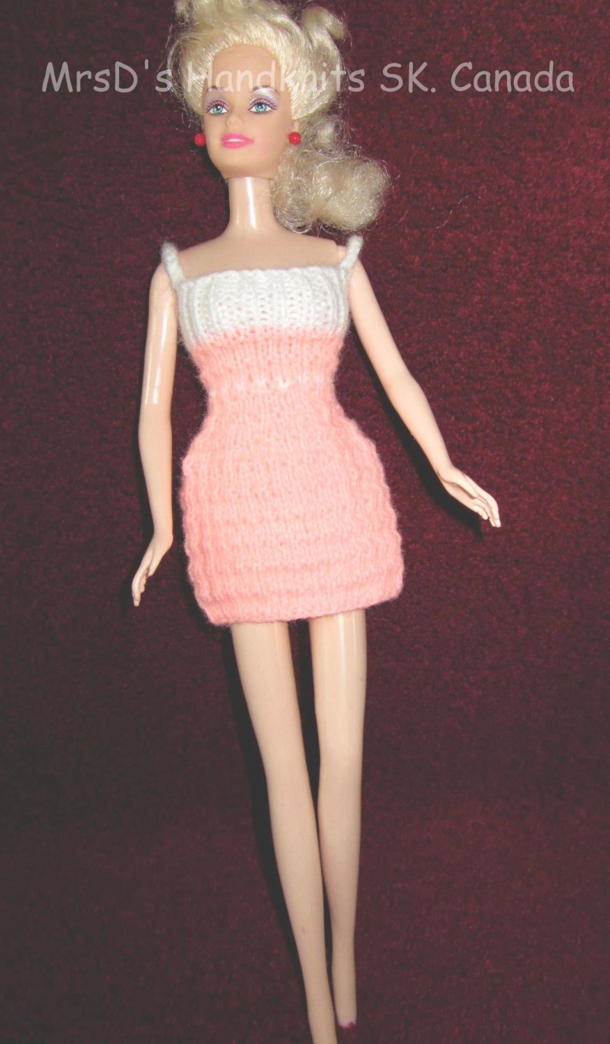 Handknit 11.5 Inch Doll Dress Peach Pink with Off-White #2