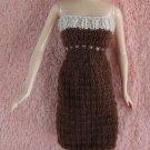 Brown & Beige 11.5 Inch Handknit Strapless Fashion Doll Dress