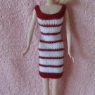 Hand Knit Doll Dress 11.5 Inch Fashion Doll Short Red & White Striped Dress