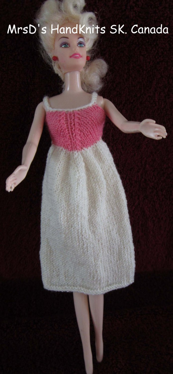 Hand Knit Hand Made 11.5 Inch Fashion Dolls Dress Off-White with Rose Pink