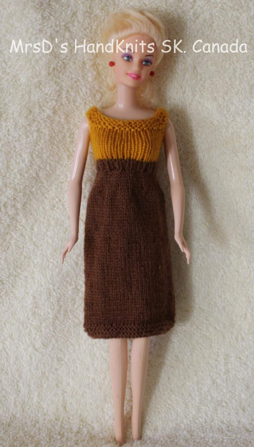 Hand Knit 11.5 Inch Fashion Dolls Dress Brown with Yellow Gold