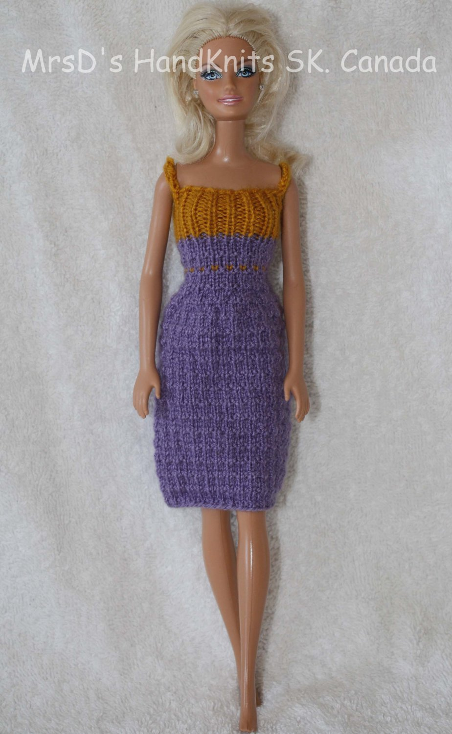 Knitted Doll Dress Purple and Yellow-Gold 11.5 Inch Fashion Doll Dress