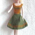 Handknit Doll Dress Sage Green & Yellow-Gold 11.5 Inch Fashion Doll Dress