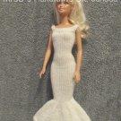 Handmade HandKnit Off-White Long Doll Dress/Gown fits 11.5 Inch Fashion Dolls