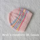 Hand Knit Preemie Baby Beanie Teddy Bear or Doll Hat Pink with Multicolor Mix