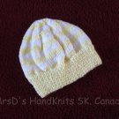 Hand Knit Baby Hat Light Yellow and White Striped