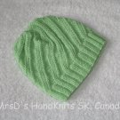 Hand Knit Lime Green Baby Beanie Hat #1