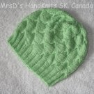 Lime Green Hand Knit Baby Beanie Hat #2