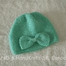 Hand Knit Turquoise Baby Beanie Hat #2