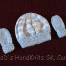 Hand Made Hand Knit Preemie Newborn Baby Hat & Mittens Blue with Pastels
