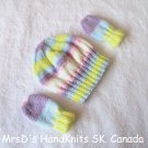 Handknit Baby Striped Multicolor Hat and Mittens Set