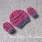 Hand Made Hand Knit Preemie Newborn Baby Beanie Hat and Mittens - Pink & Mauve