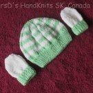 Handknit Green and White Newborn Baby Hat and Mittens