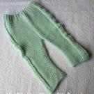 Handknit Mint Green Baby Pants Bottoms