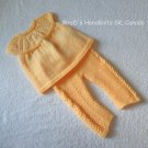 Handknit 2 Piece Baby Outfit Short Sleeve Sweater Tunic Amber Golden Tangerine 12 Mos