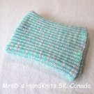 Handknit White Blue Aqua Mix 21 X 31 Inches Baby Blanket Afghan Blanket