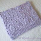 Hand Knit Lilac Light Purple Baby Blanket Checker Pattern 27 X 35 In