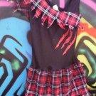 SZ 10-12 RARE  PARTY DRESS & CUSTOM RED PLAID &BLACK FANCY  L@@K!!