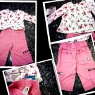 0-3 MONTHSFANCY SET  BABY GIRL 2 PCS SET PANTS AND TOP SPRCKETS ....L@@K!!