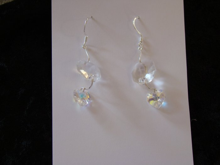 Floating Heart earrings Silver