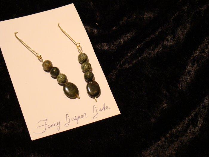 Jade & Fancy Jasper Earrings Gold