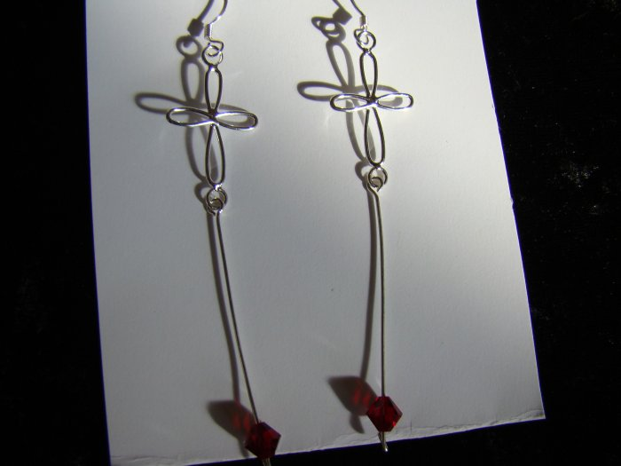 red crystal cross dangle earrings