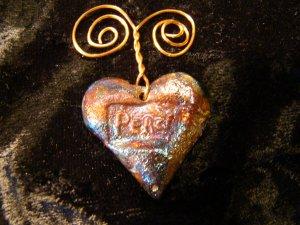 raku heart peace pendant