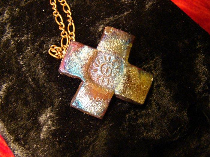 raku cross pendant on copper chain
