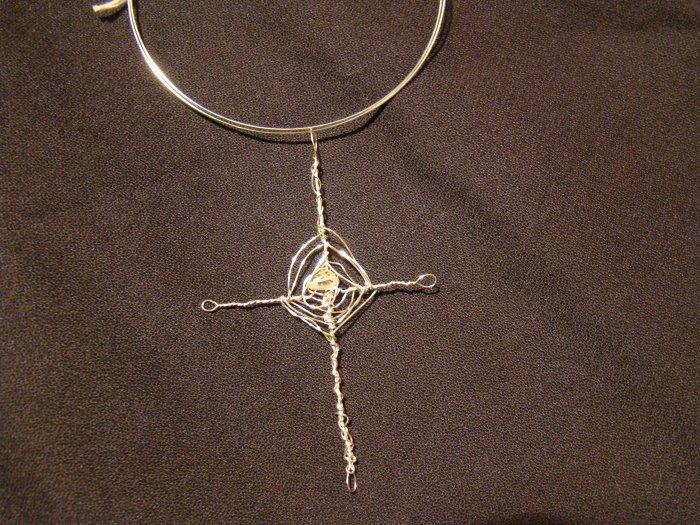 silver crystal cross