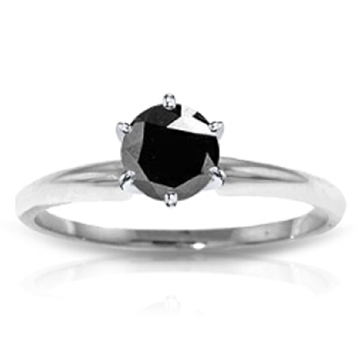 14K Solid White Gold Solitaire Engagement Ring 0.50 Carat Black Diamond 2352-W