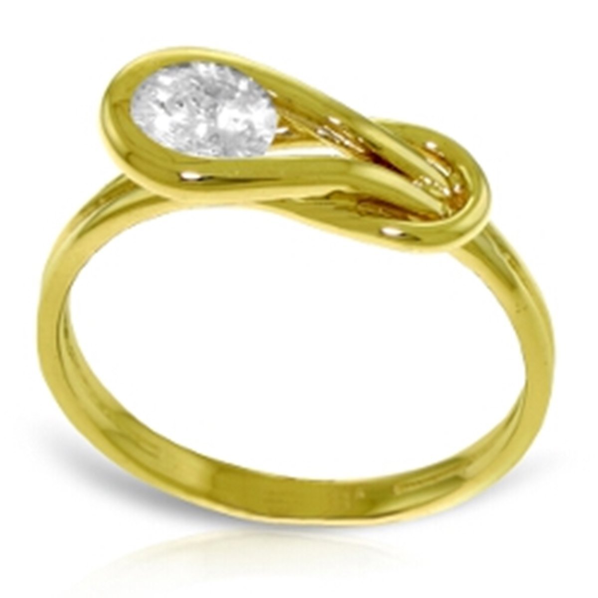 14K Solid Yellow Gold Love Knot Ring 0.50 Carat Natural Diamond 4211-Y