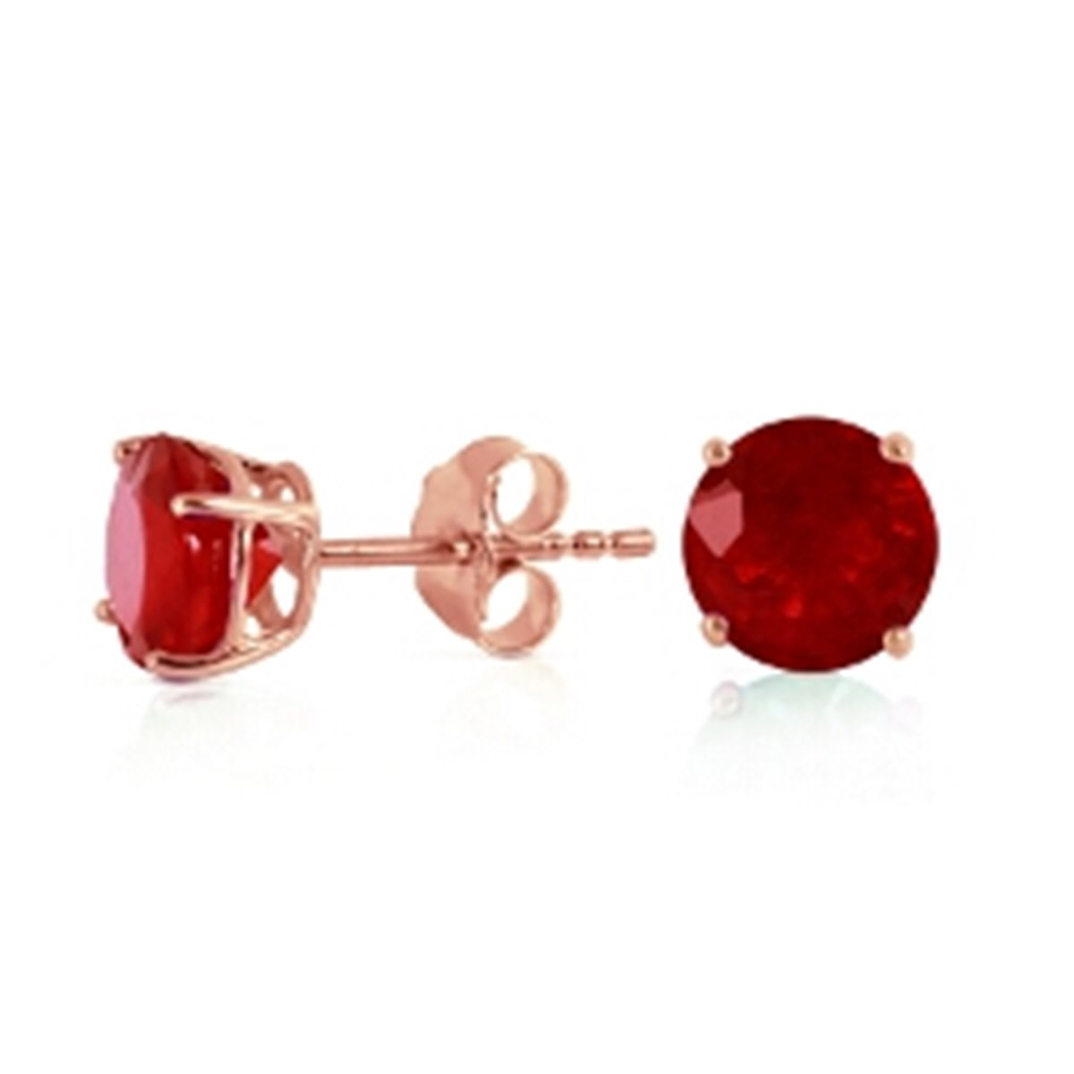 0.95 CTW 14K Solid Rose Gold Round Ruby Stud Earrings 1945-R