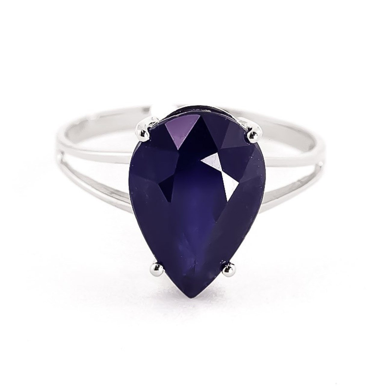 4.65 ctw 14K Solid White Gold Pear Shape Sapphire September Birthstone Ring 4305-W