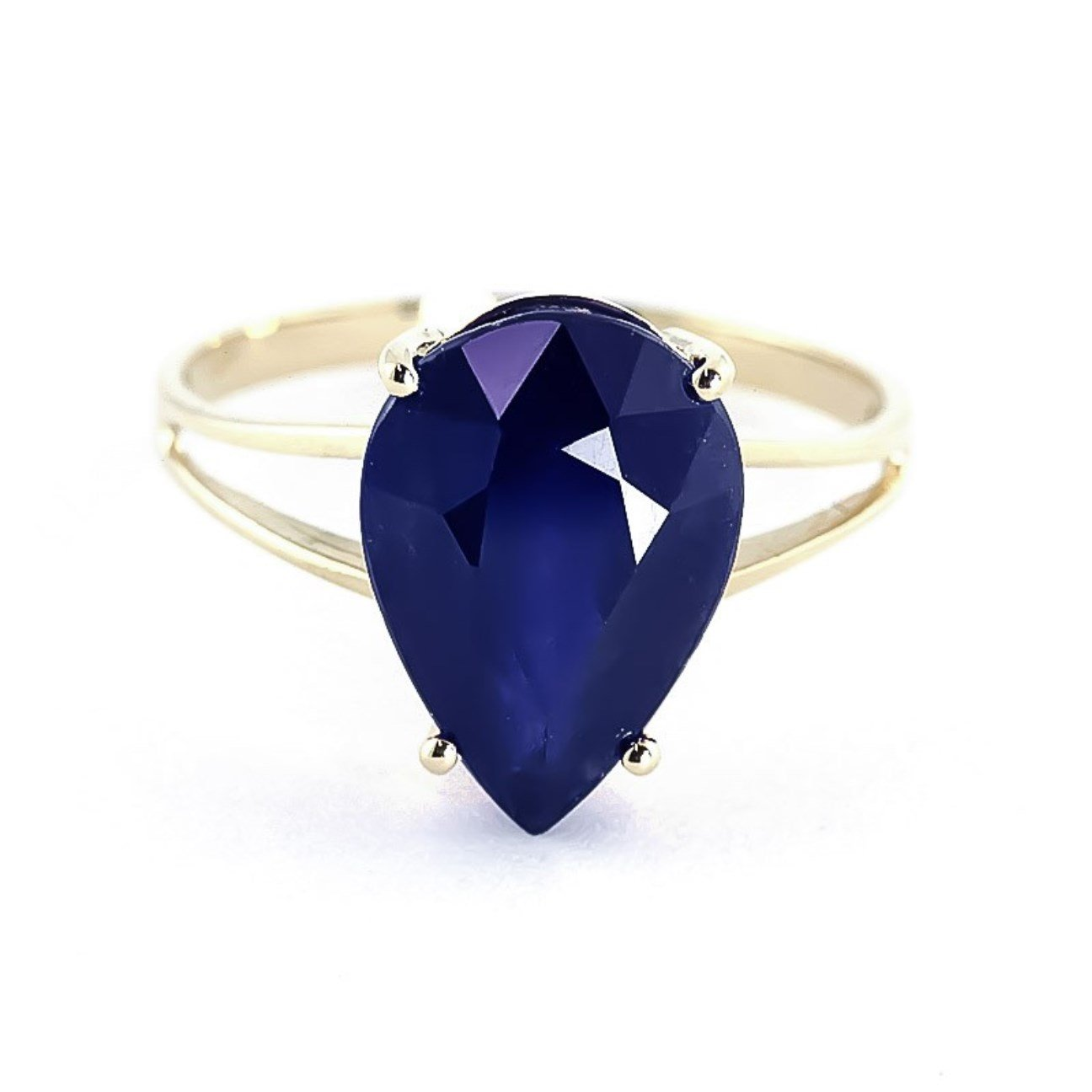 4.65 ctw 14K Solid Yellow Gold Pear Shape Sapphire September Birthstone Ring 4305-Y