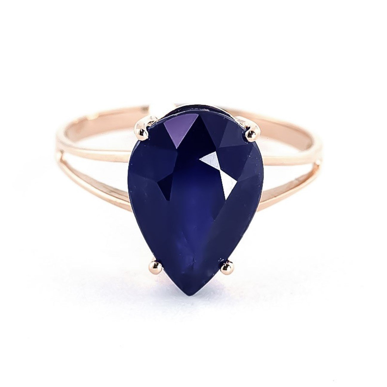 4.65 ctw 14K Solid Rose Gold Pear Shape Sapphire September Birthstone Ring 4305-R