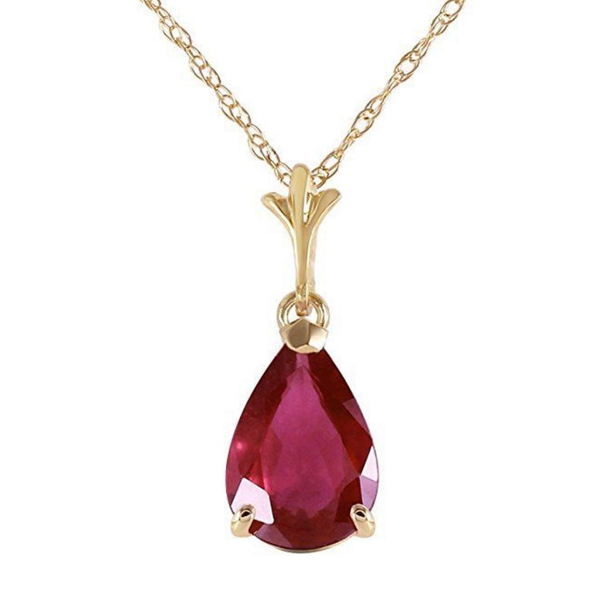 1.75ctw 14K Solid Yellow Gold July Birthstone Pear Shape Ruby Pendant Necklace 1544-Y