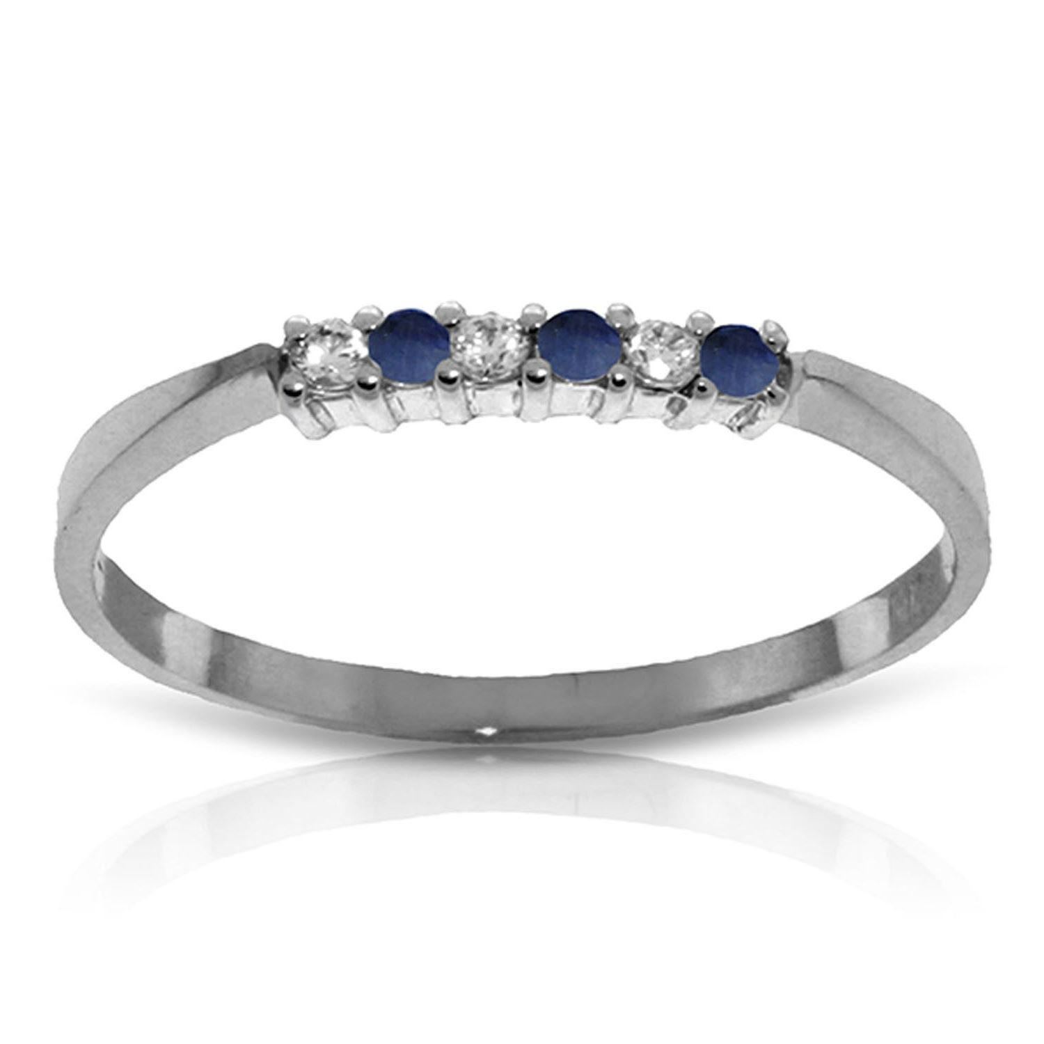 Sapphire Diamond Eternal Love Delicate Ring 14K Solid White Gold 2818-W