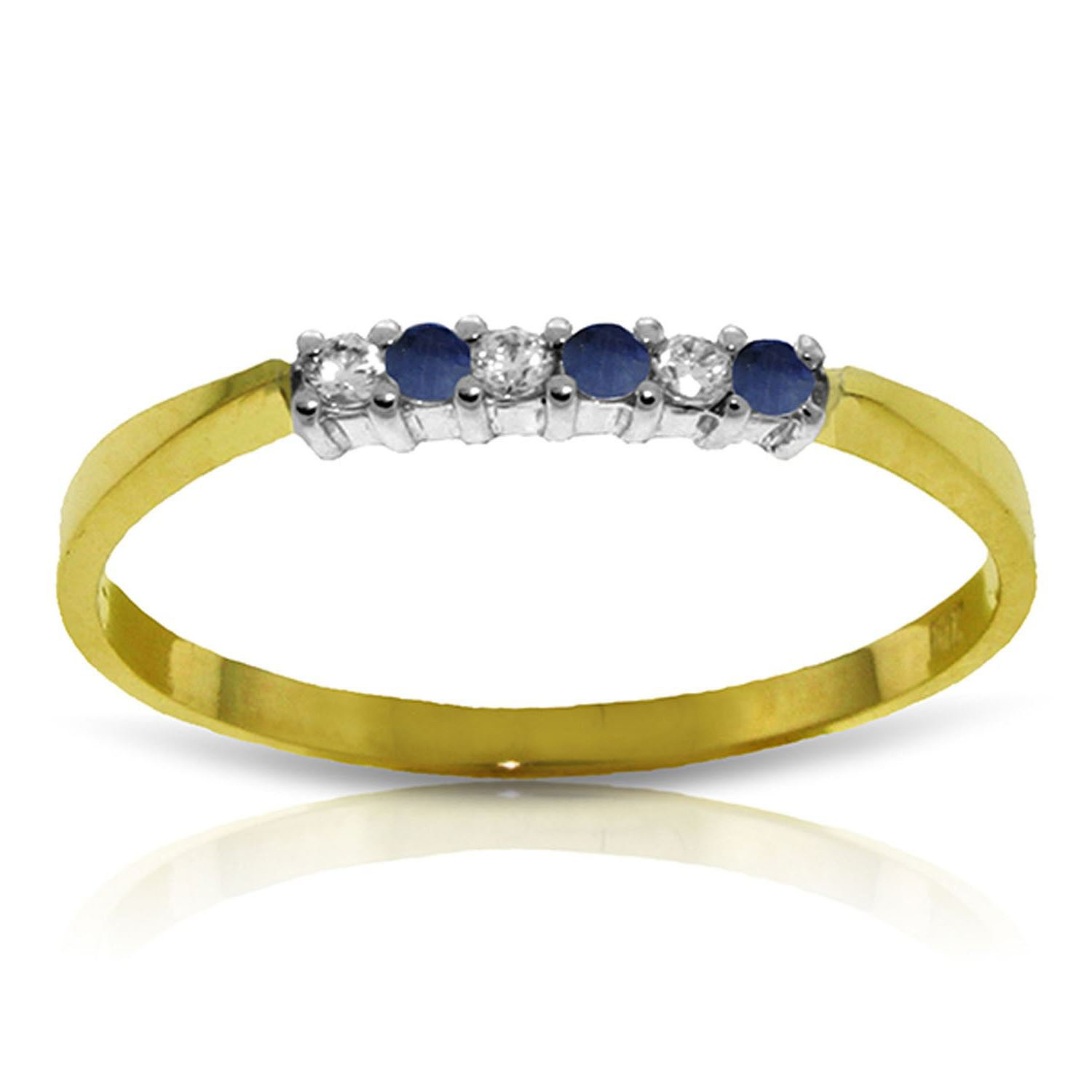 Sapphire Diamond Eternal Love Delicate Ring 14K Solid Yellow Gold 2818-Y