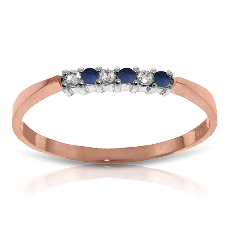 Sapphire Diamond Eternal Love Delicate Ring 14K Solid Rose Gold 2818-R