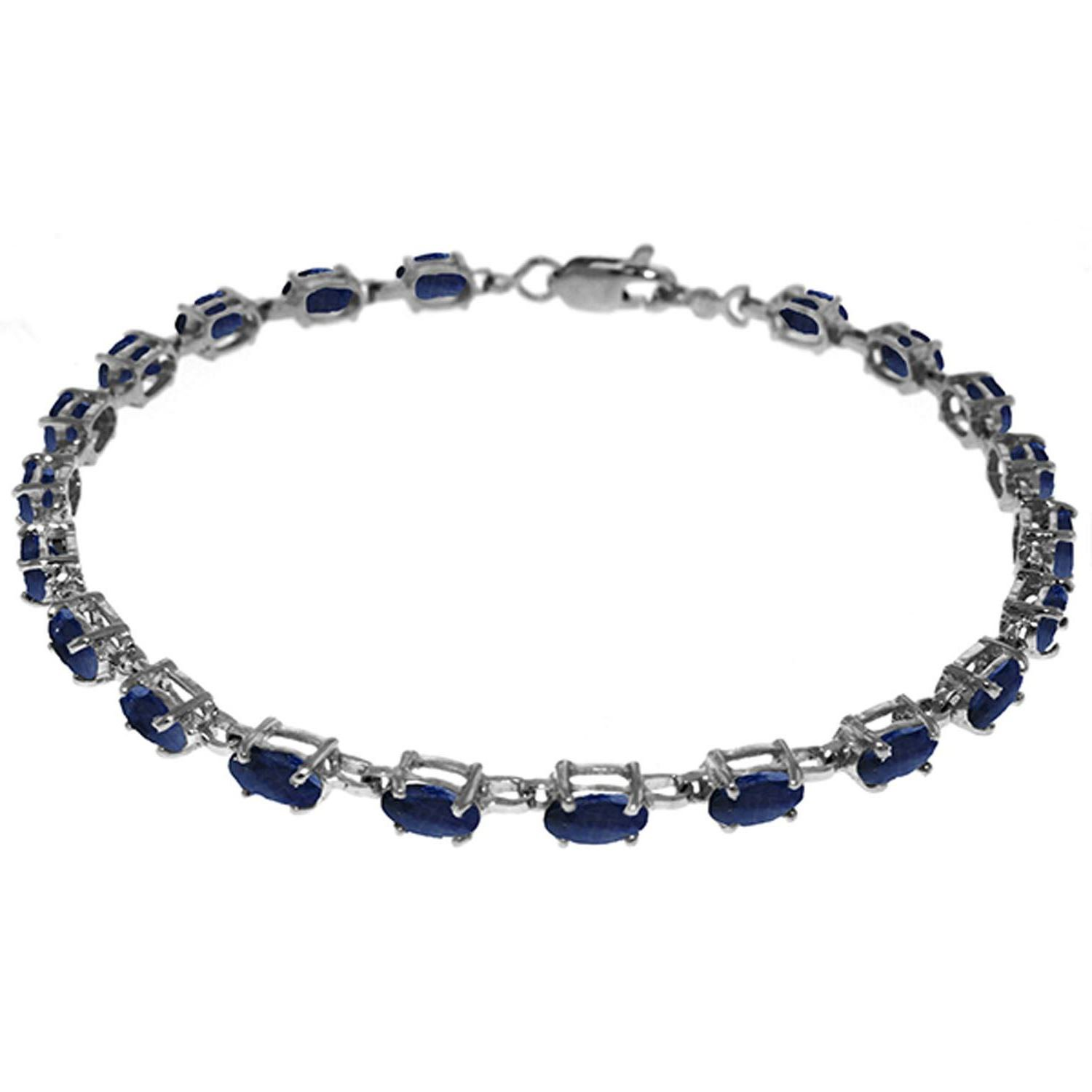 8 Carats Natural Oval Sapphire Gemstone Tennis Bracelet 14K Solid White Gold 3561-W