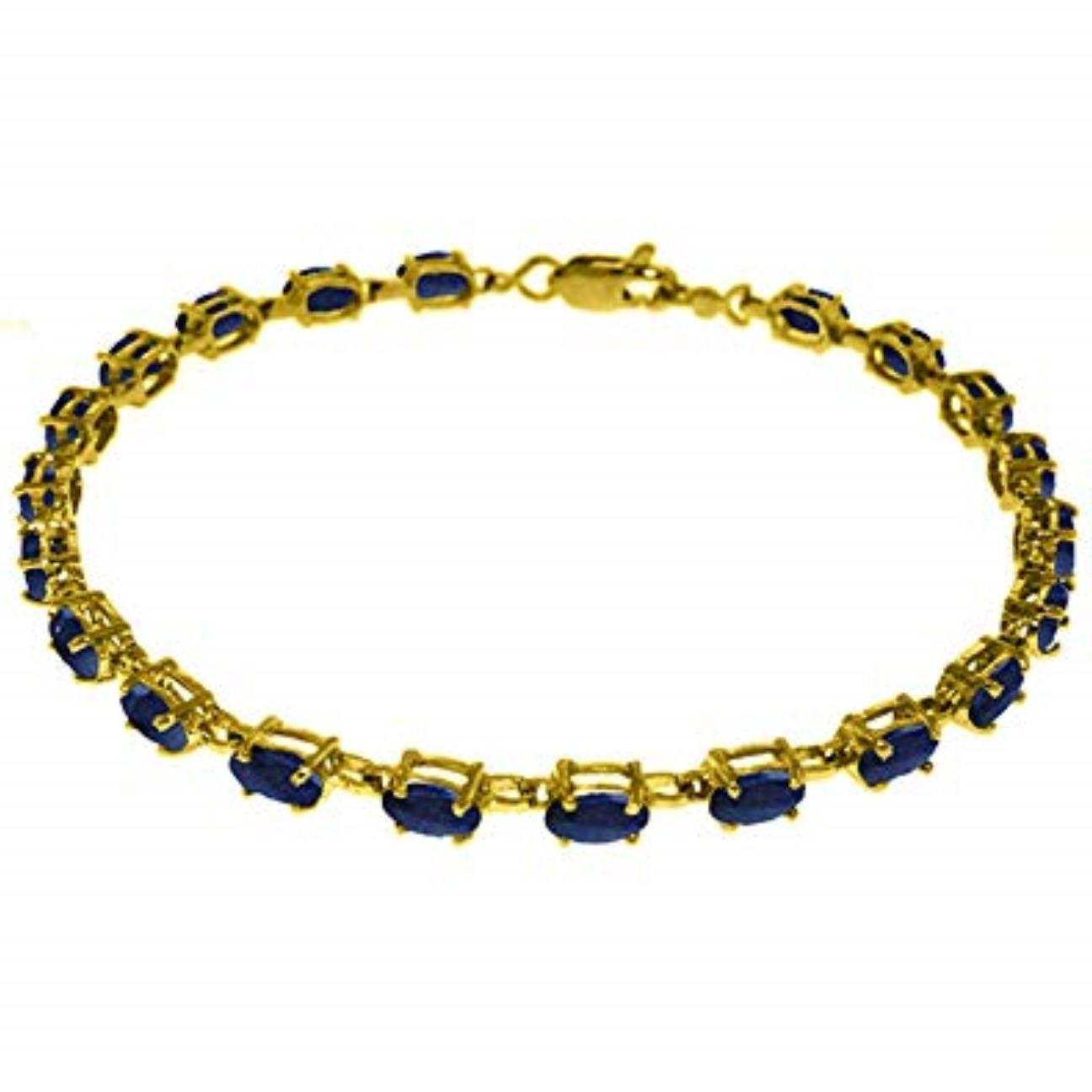 8 Carats Natural Oval Sapphire Gemstone Tennis Bracelet 14K Solid Yellow Gold 3561-Y