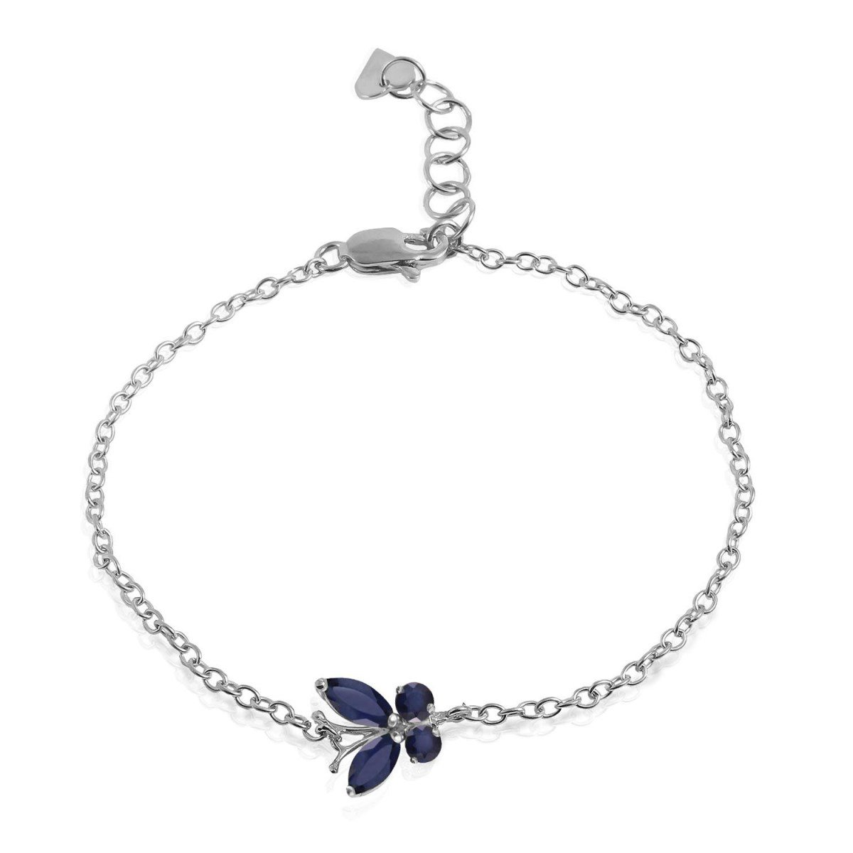 14K Solid White Gold Wings of a Butterfly Bracelet Sapphire 5030-W