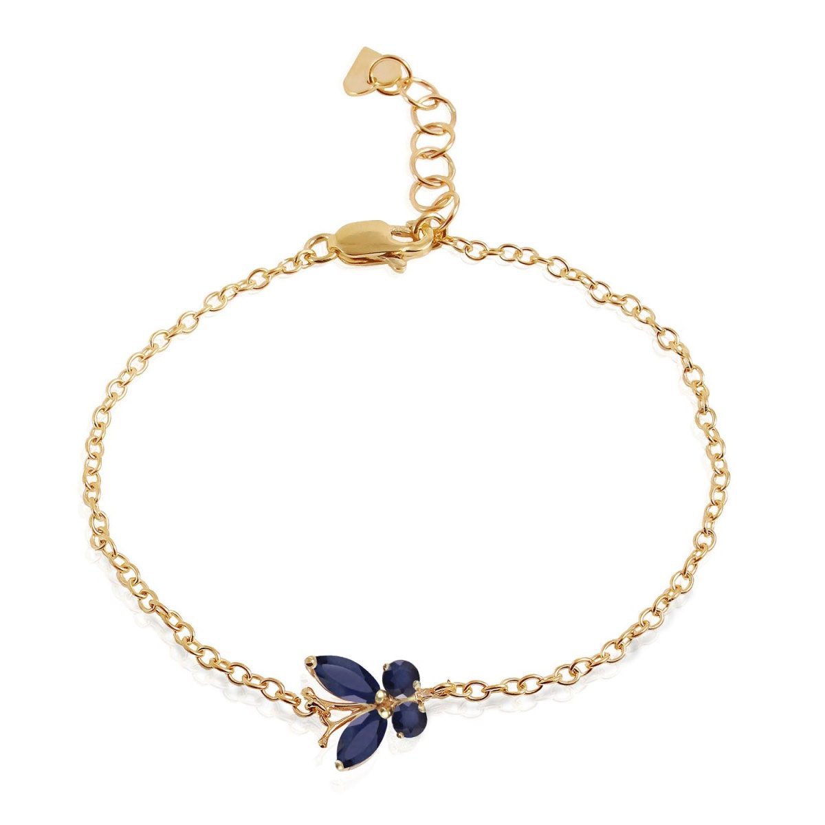 14K Solid Yellow Gold Wings of a Butterfly Bracelet Sapphire 5030-Y