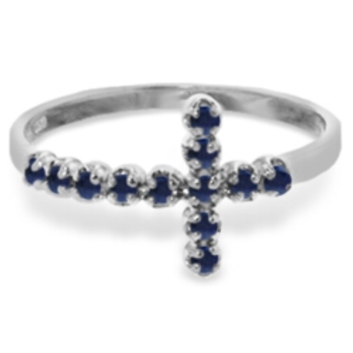 Delicate Natural Sapphire Cross Ring 14K Solid White Gold 5055-W