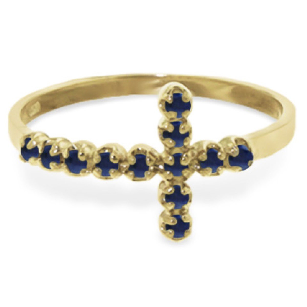 Delicate Natural Sapphire Cross Ring 14K Solid Yellow Gold 5055-Y