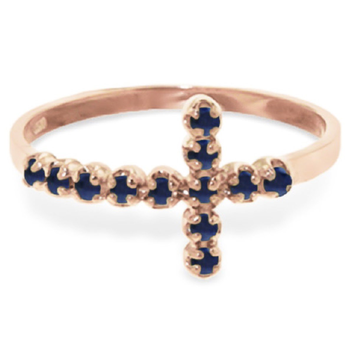 Delicate Natural Sapphire Cross Ring 14K Solid Rose Gold 5055-R